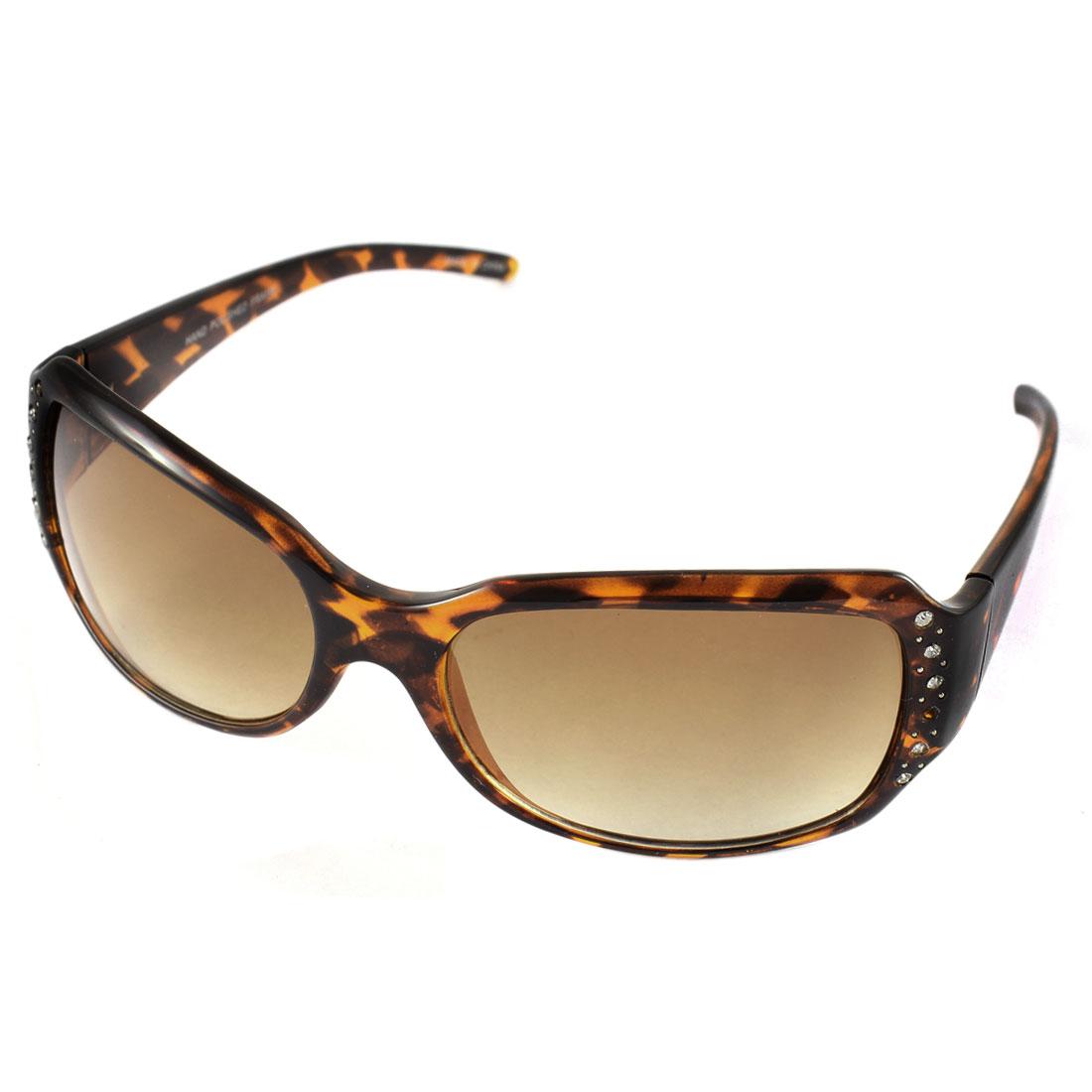 Women Leopard Style Single Bridge Sun Glasses Outdoor Eye Wear Brown