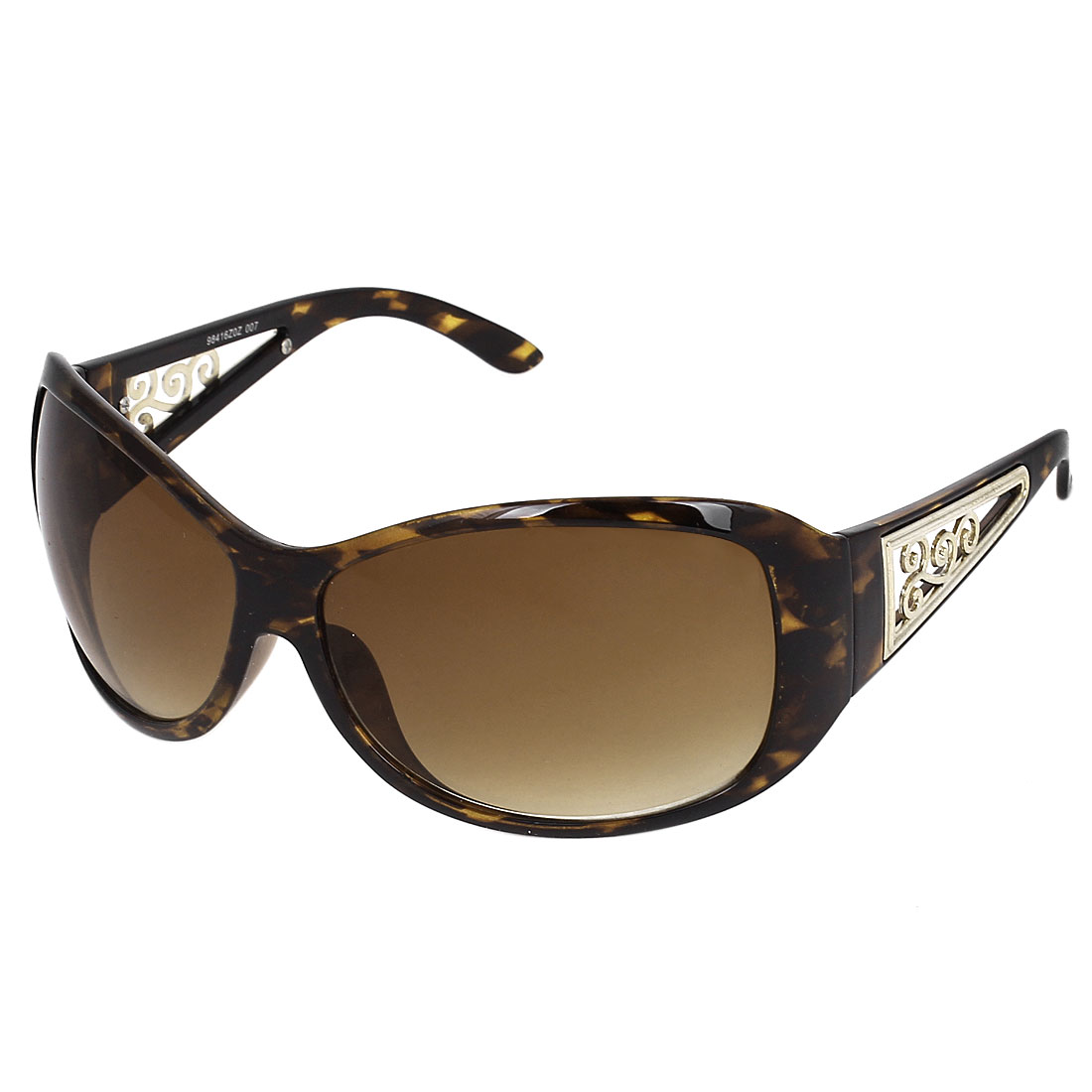 Women Plastic Leopard Pattern Full Frame Single Bridge Brown Uni Lens Sunglasses