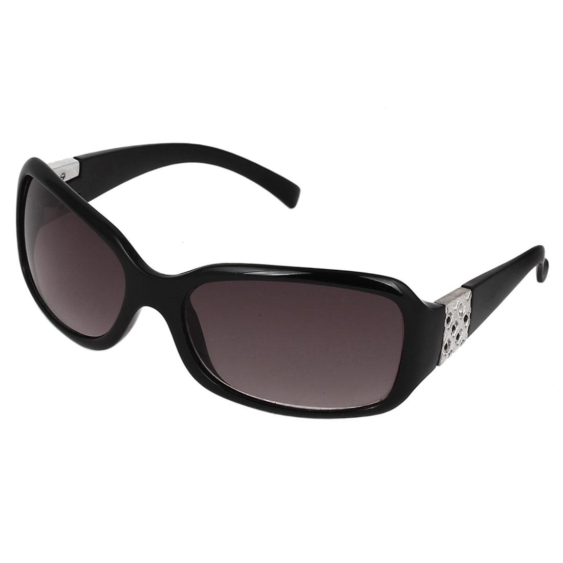 Women Plastic Full Frame Single Bridge Rectangle Lens Sunglasses Black
