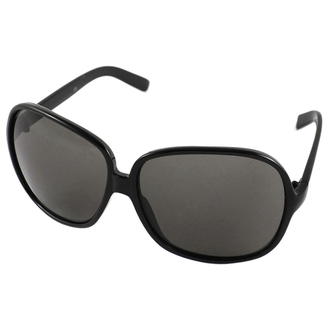 Unisex Full Rim Slim Temple Sun Protective Eyewear Sunglasses Black