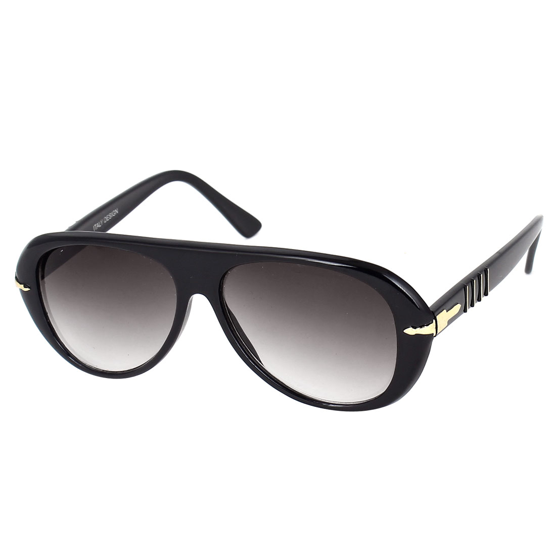 Lady Plastic Full Rim Single Bridge Water Drop Lens Glasses Sunglasses Black