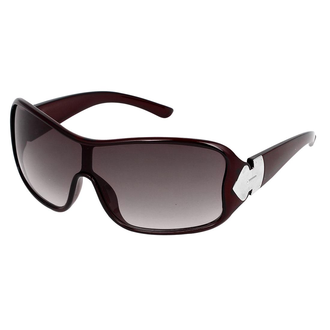 Plastic Full Rim Women Single Bridge Eyewear Sunglasses Brown