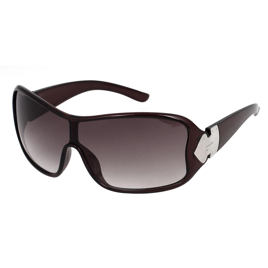 Plastic Full Rim Lady Single Bridge Eyewear Protector Sunglasses Brown