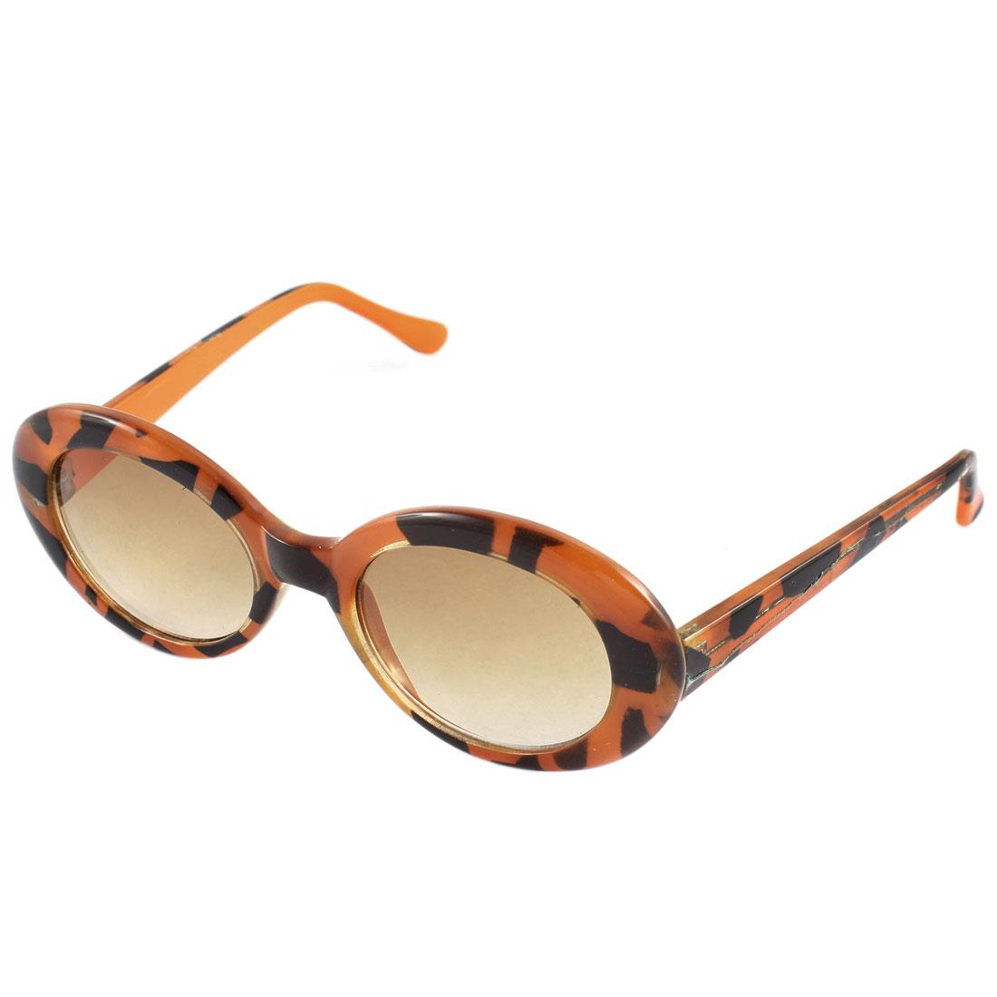 Retro Style Animal Pattern Frame Sunglasses Eyewear Orange Black