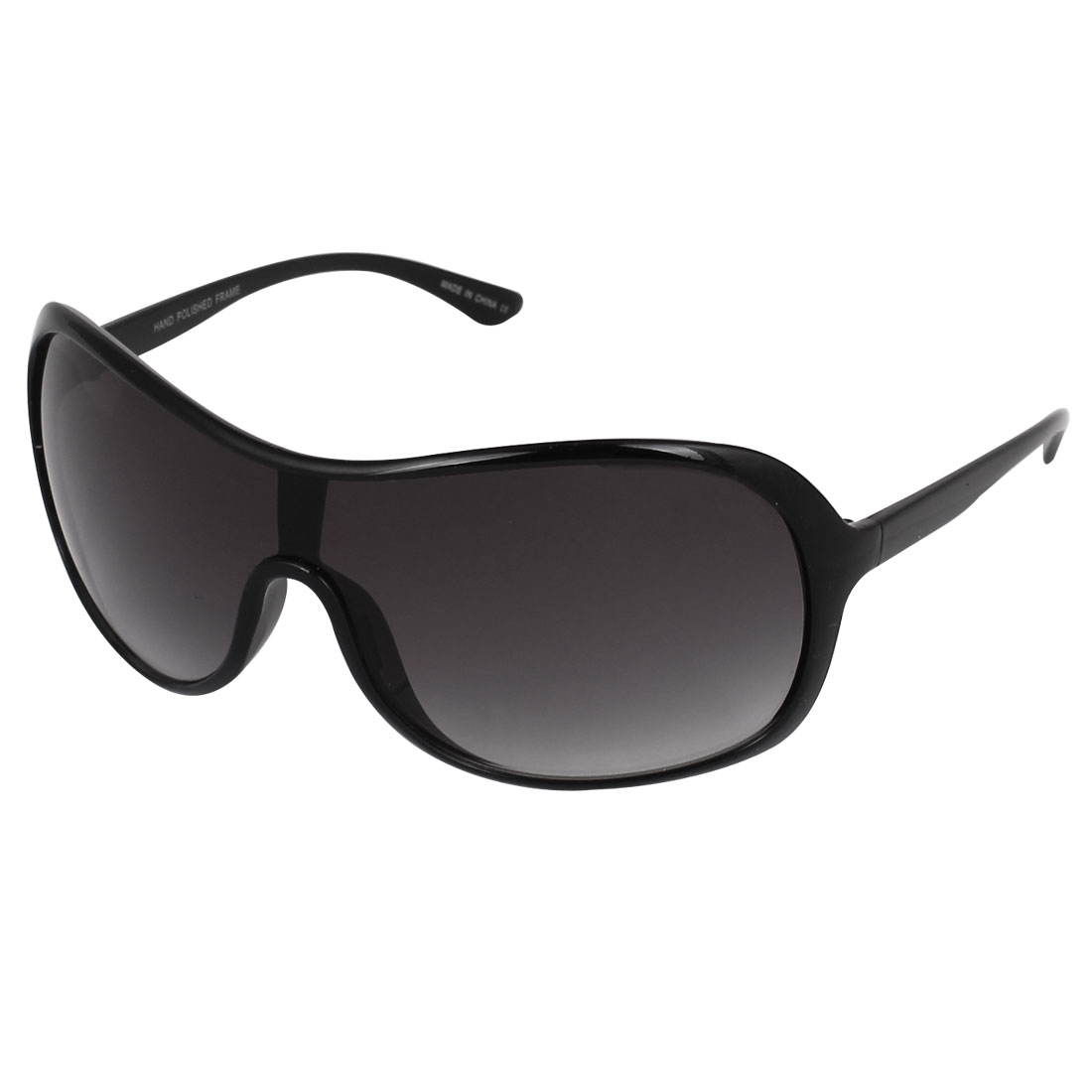 Plastic Full Rim Lady Single Bridge Eyewear Sunglasses Black