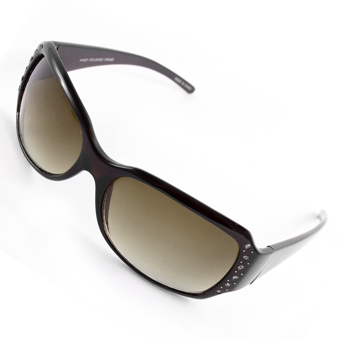 Rhinestone Decor Single Bridge Women Eye Protection Sunglasses Black