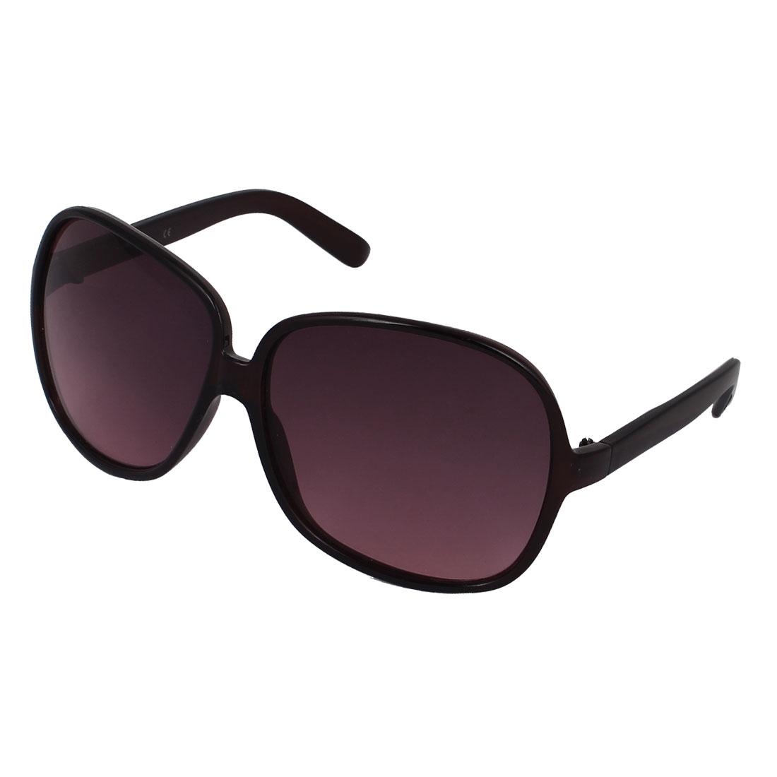 Women Plastic Full Frame Single Bridge Gradient Tear Drop Lens Sunglasses Black