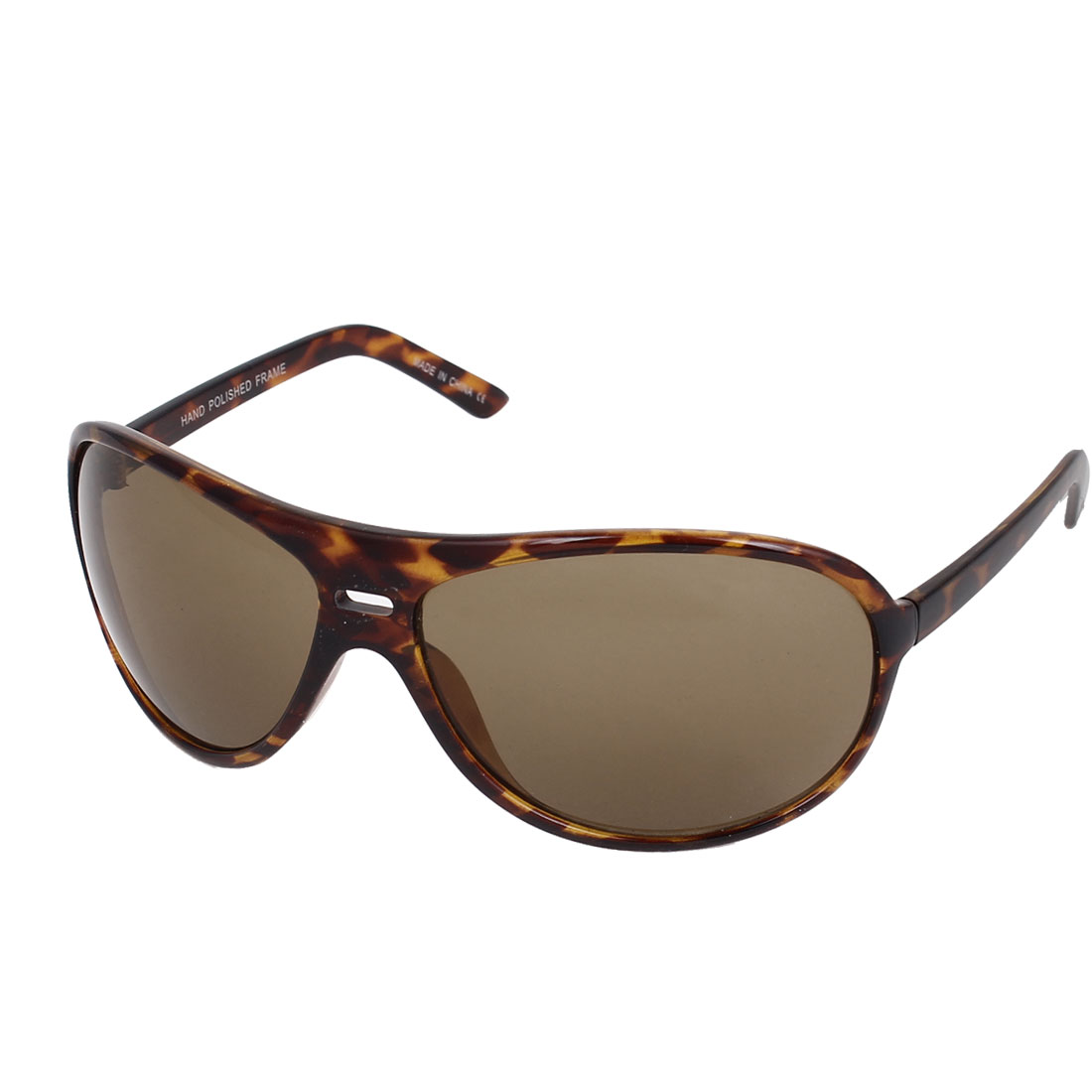 Women Plastic Leopard Pattern Full Frame Double Bridge Brown Sunglasses