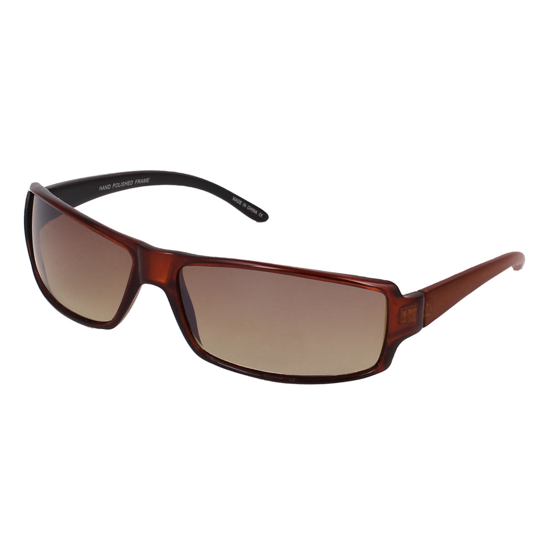 Women Brown Plastic Full Frame Single Bridge Rectangle Lens Eyes Sunglasses
