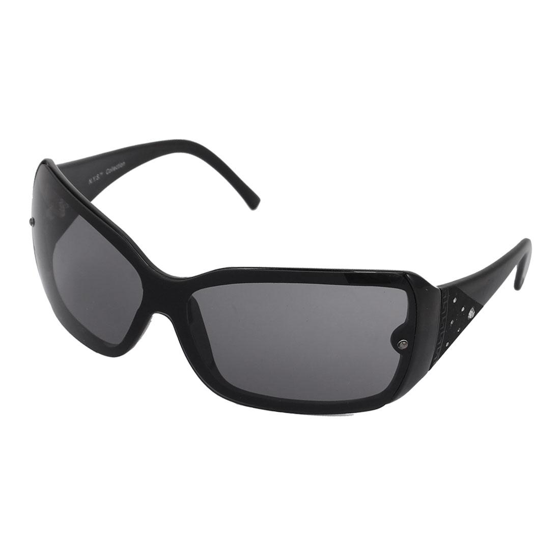 Women Plastic Full Frame Single Bridge Rectangle Lens Eyes Sunglasses Black