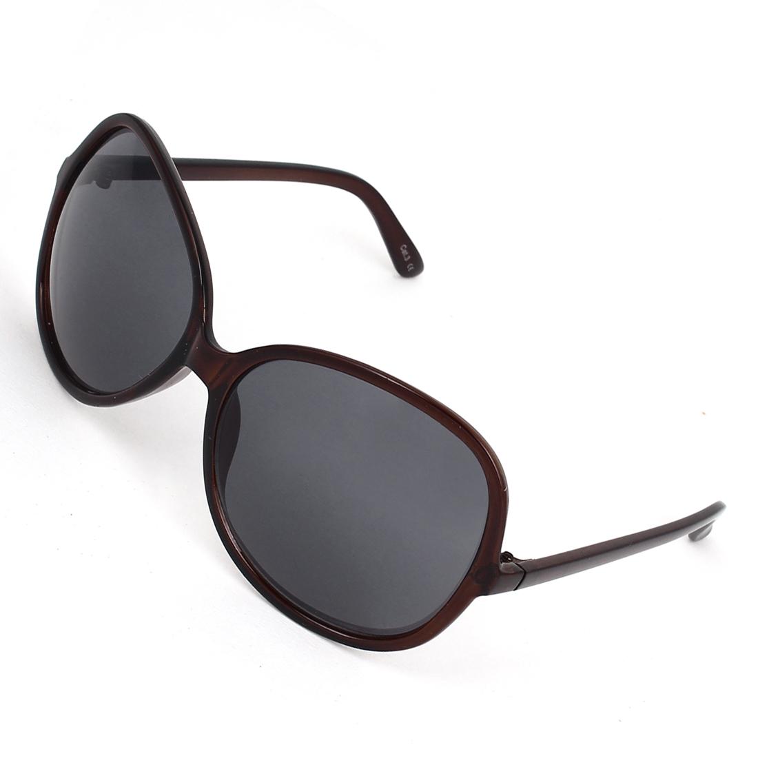 Lady Plastic Full Rim Single Bridge Water Drop Lens Sunglasses Dark Brown