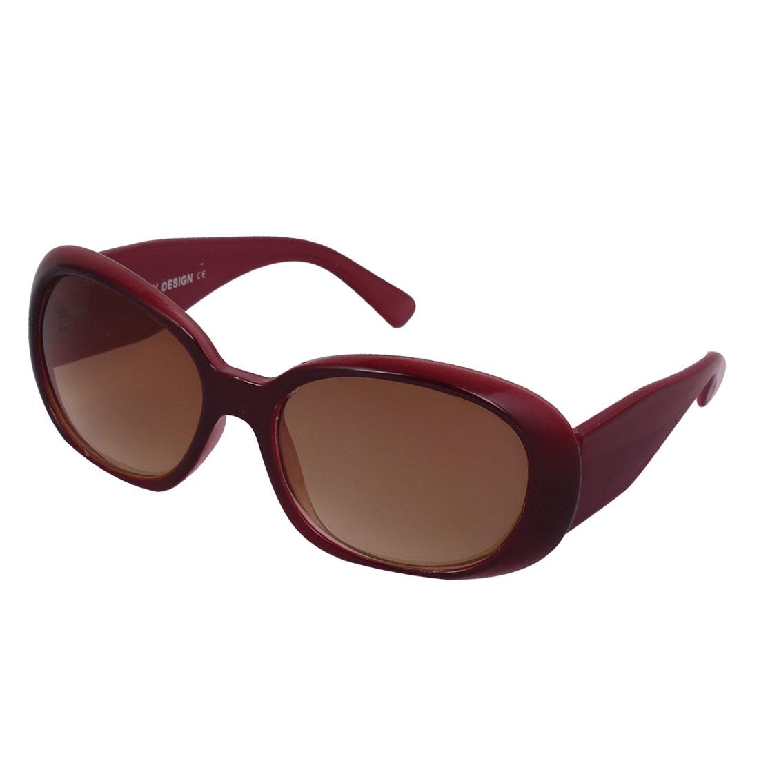 Lady Plastic Full Rim Single Bridge Brown Water Drop Lens Sunglasses Burgundy