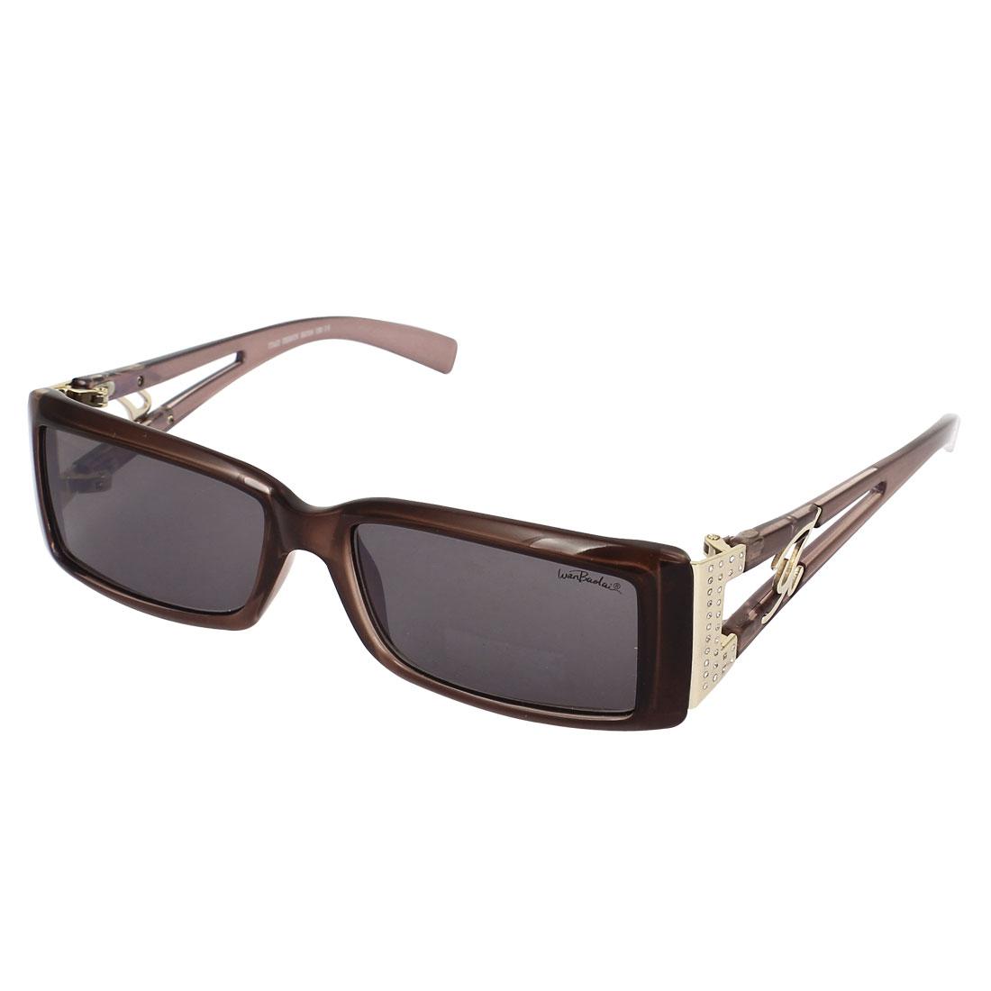Women Plastic Full Frame Single Bridge Gray Rectangle Lens Sunglasses