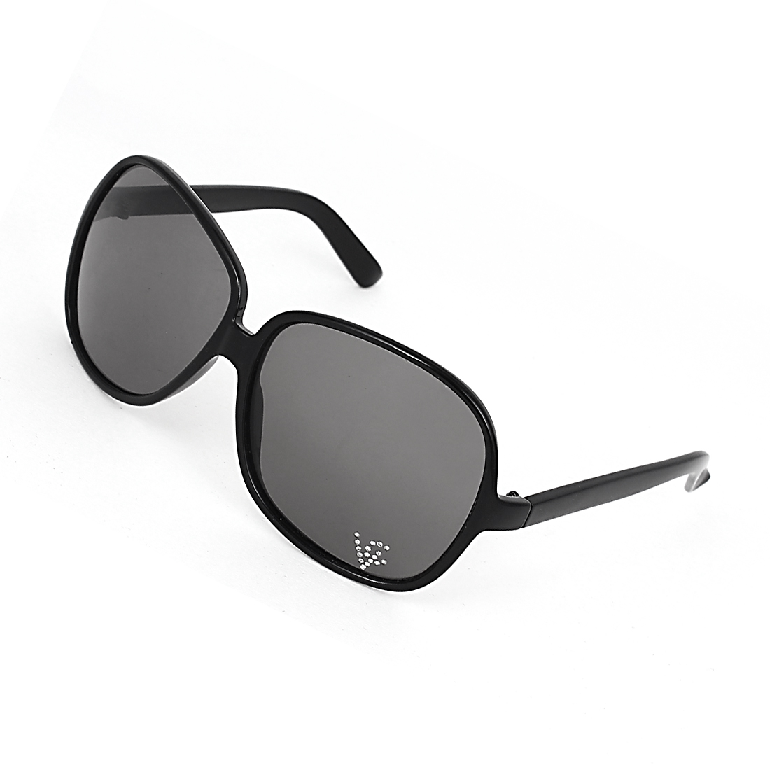 Women Plastic Full Frame Single Bridge Tear Drop Gray Lens Eyes Sunglasses Black