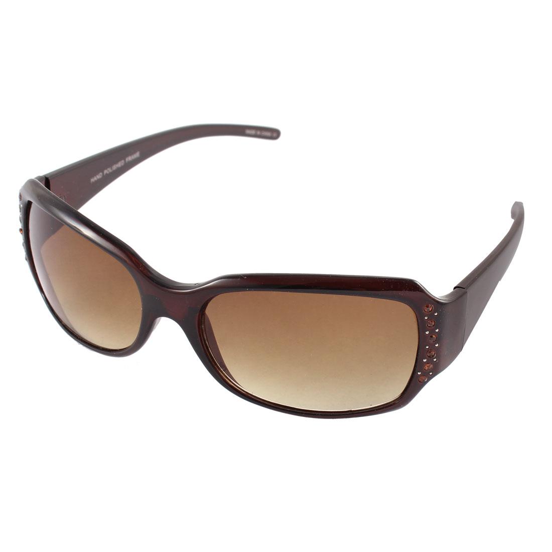 Plastic Single Bridge Sun Protection Sunglasses Eyewear Black for Lady