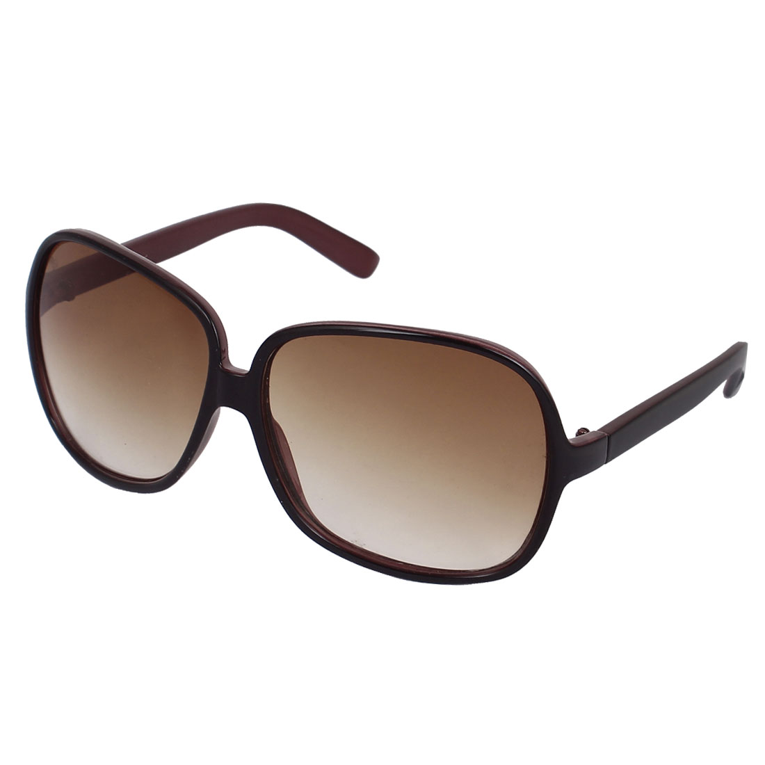 Women Plastic Full Frame Single Bridge Teardrop Lens Sunglasses Brown