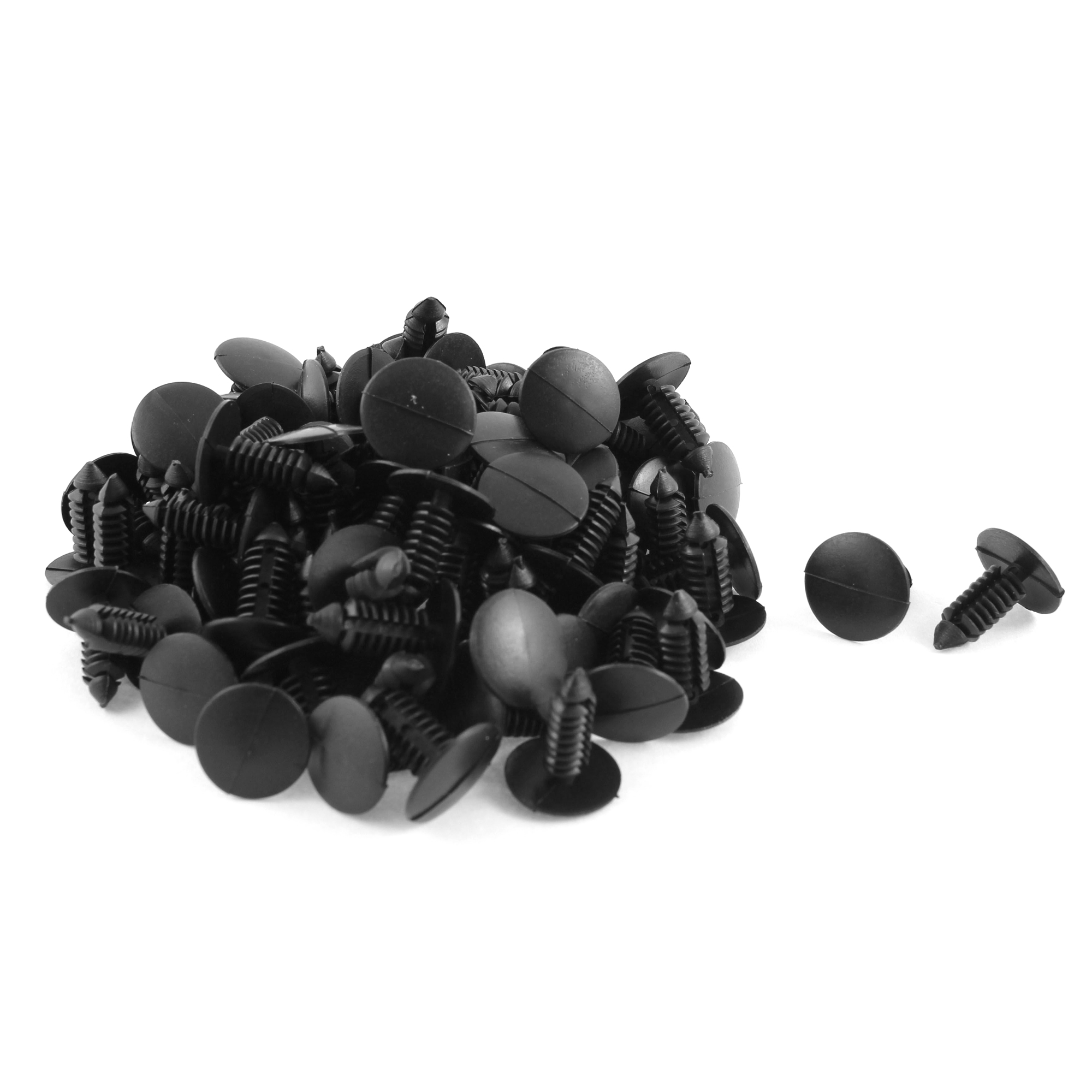 100 Pcs Black Plastic Rivet Trim Fastener Moulding Clips 7mm x 16mm x 17mm