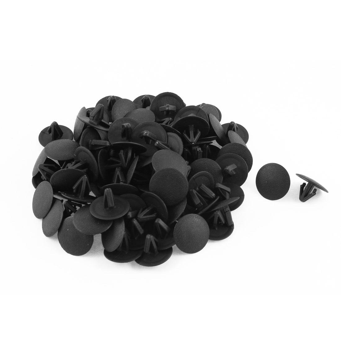 100 Pcs Black Plastic Rivet Trim Fastener Moulding Clips 11mm x 12mm x 24mm