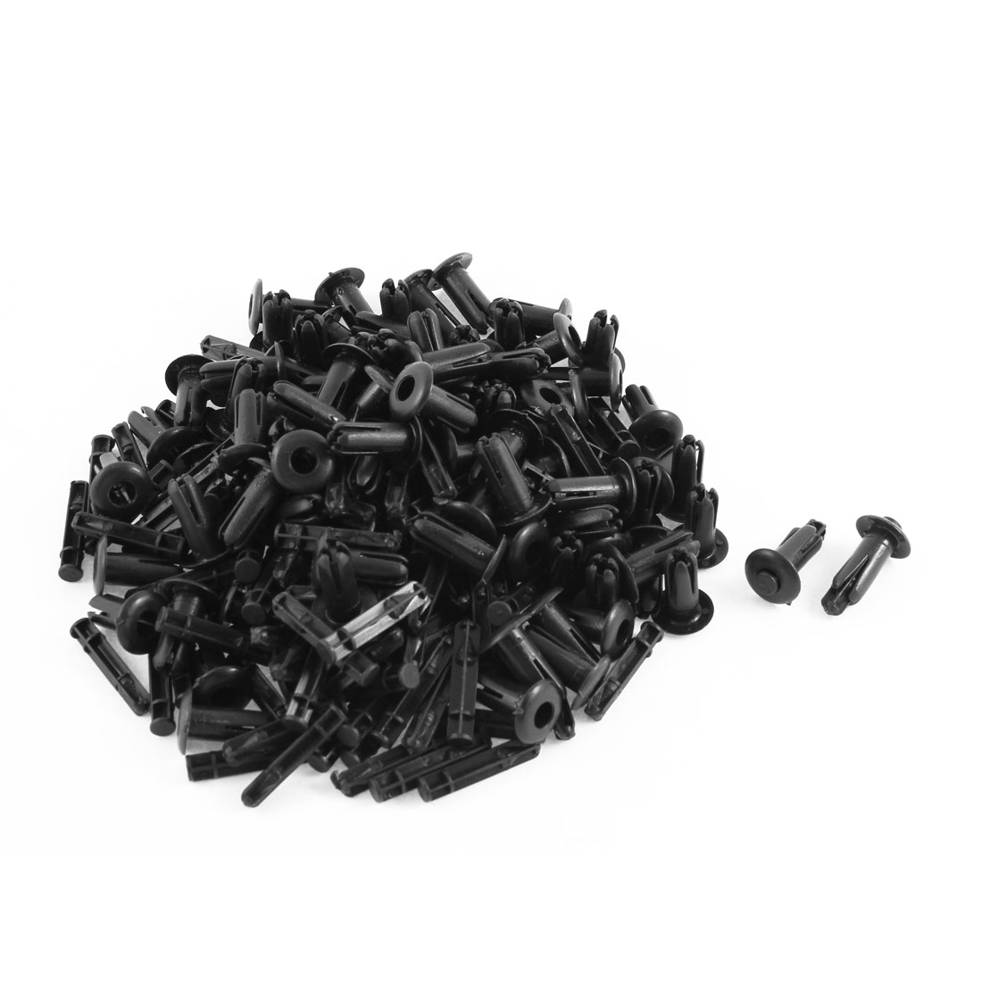 100 Pcs Black Plastic Rivet Trim Fastener Retainer Clips 7mm x 13mm x 19mm