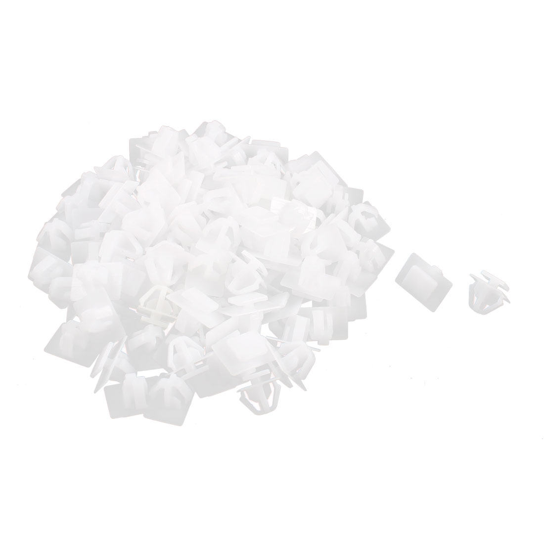 100 Pcs White Plastic Rivet Trim Fastener Retainer Clips for 14mm Hole