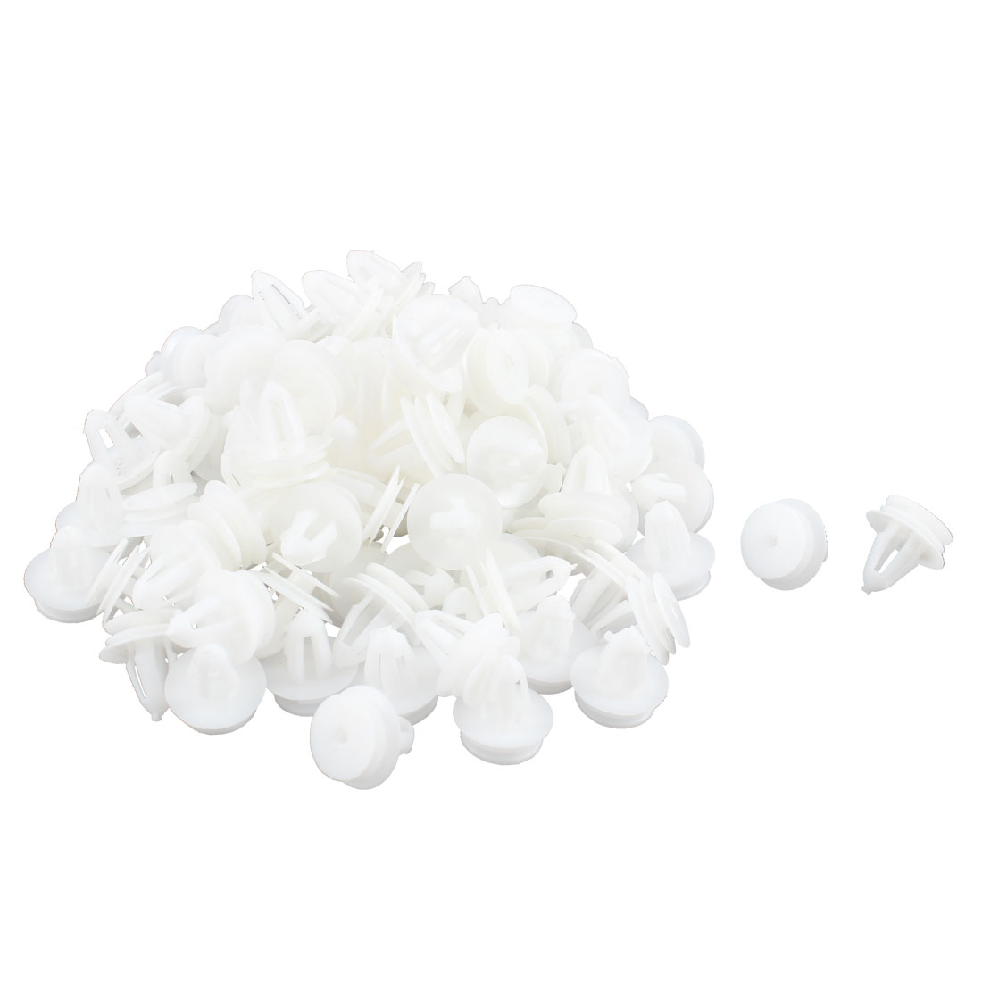 100 Pcs White Plastic Rivet Trim Fastener Retainer Clips 9mm x 13mm x 17mm
