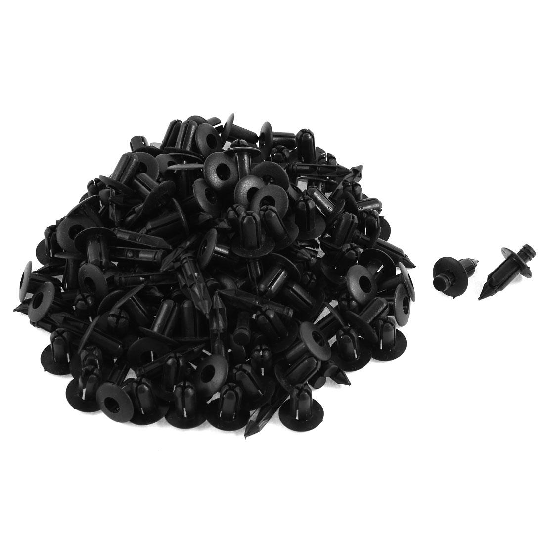 100 Pcs Black Plastic Rivet Trim Fastener Retainer Clips 6mm x 14mm x 16mm