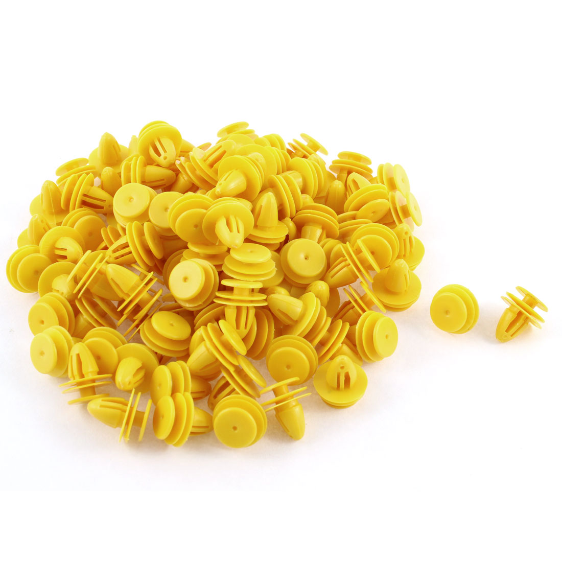 100 Pcs Yellow Plastic Rivet Trim Fastener Retainer Clips 9mm x 11mm x 15mm