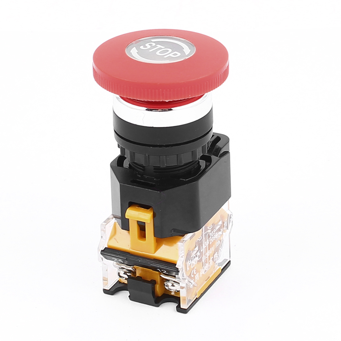AC 380V 10A NO/NC 4Pin Mushroom Emergency Stop Red Push Button Switch