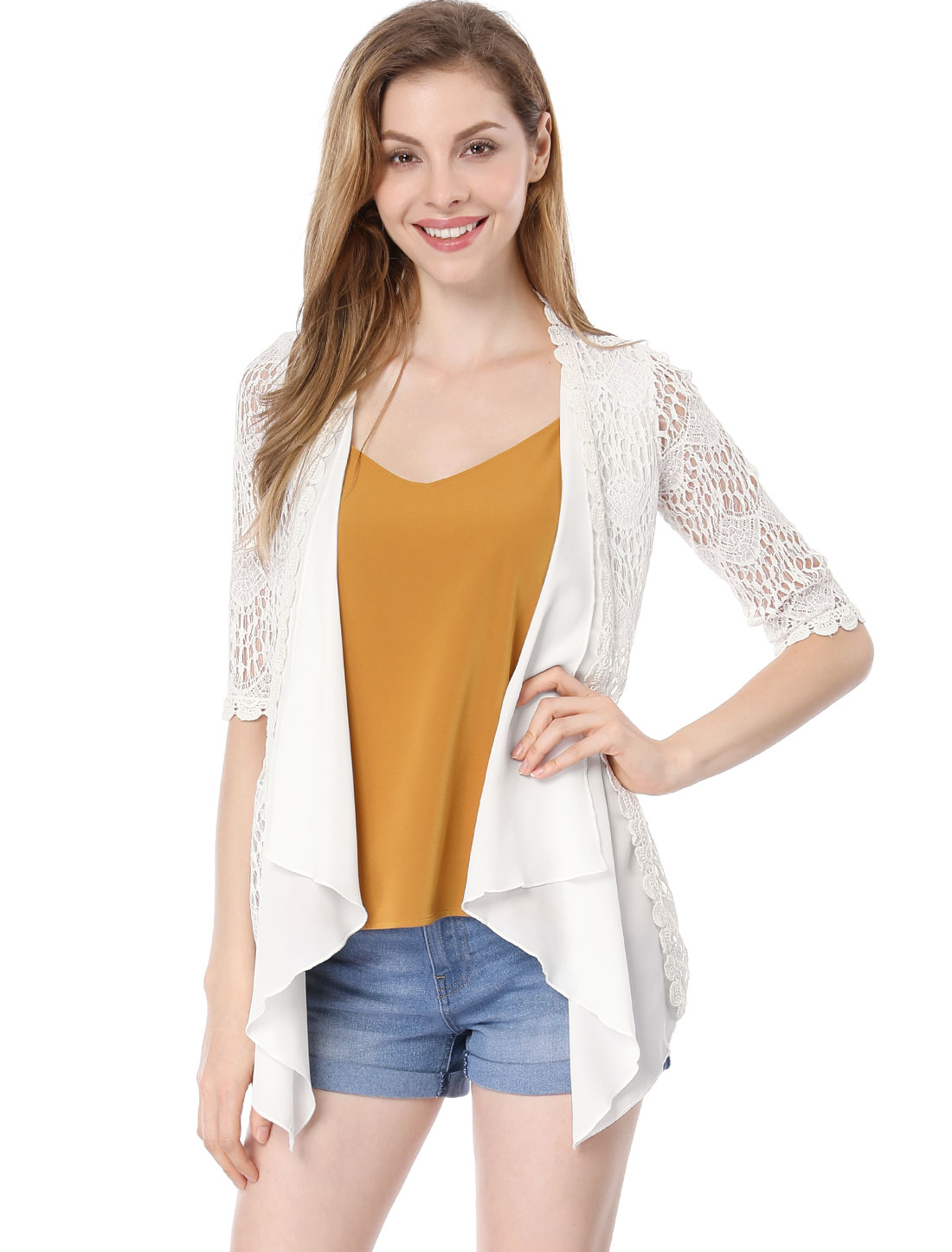 Lady 3/4 Sleeves Scalloped Trim Lace Cardigan White M