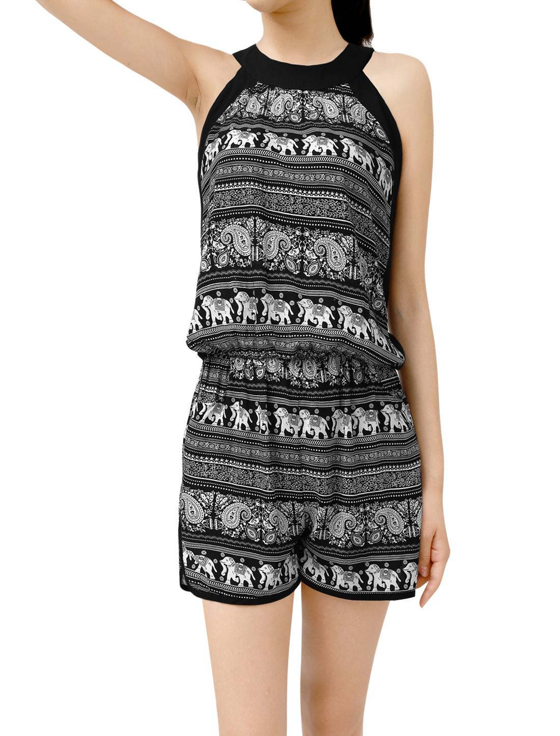 Women Round Neck Elephant Print Pockets Sleeveless Playsuits Black L