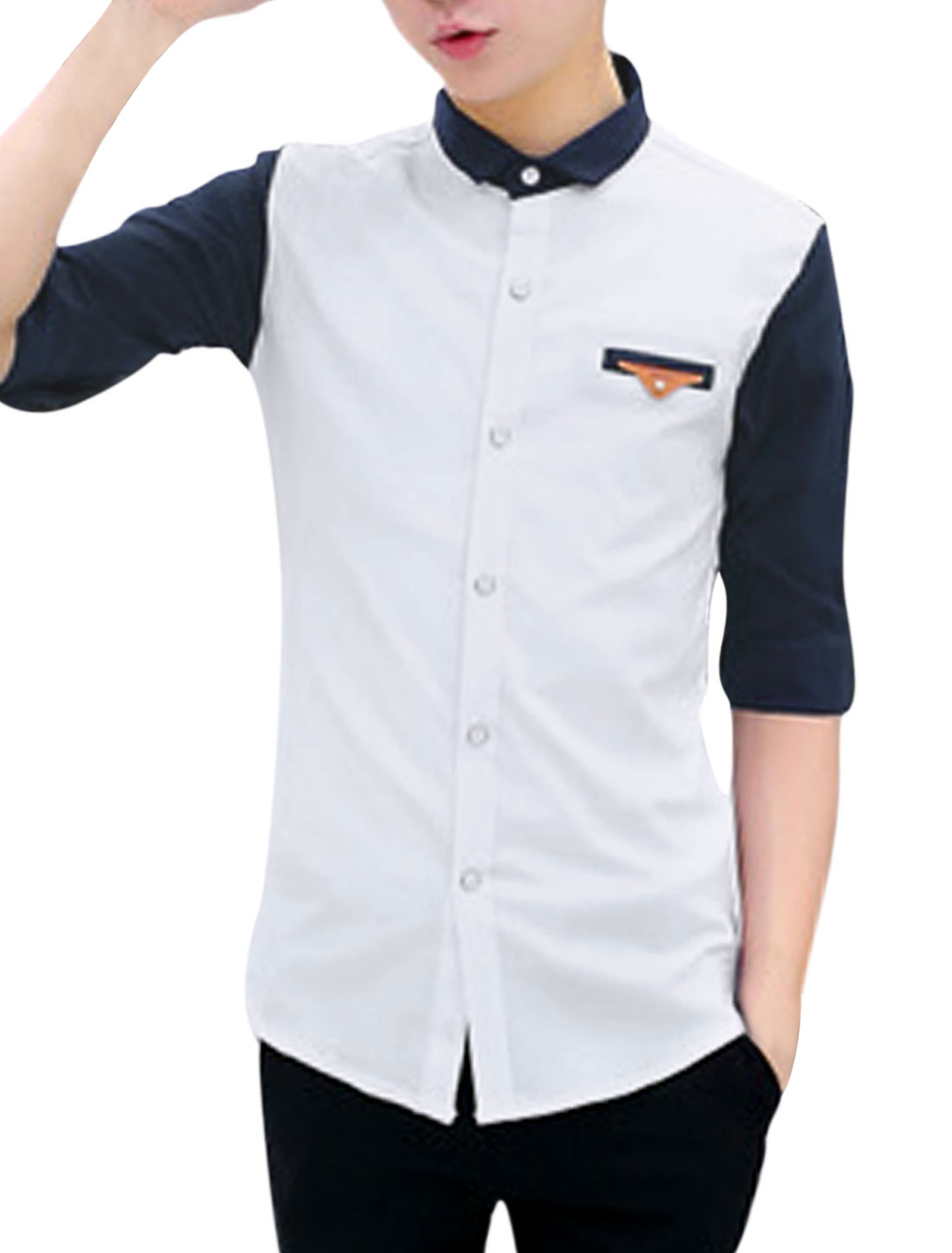 Men Contrast Color Turn Down Collar Elbow Sleeves Casual Shirt White M