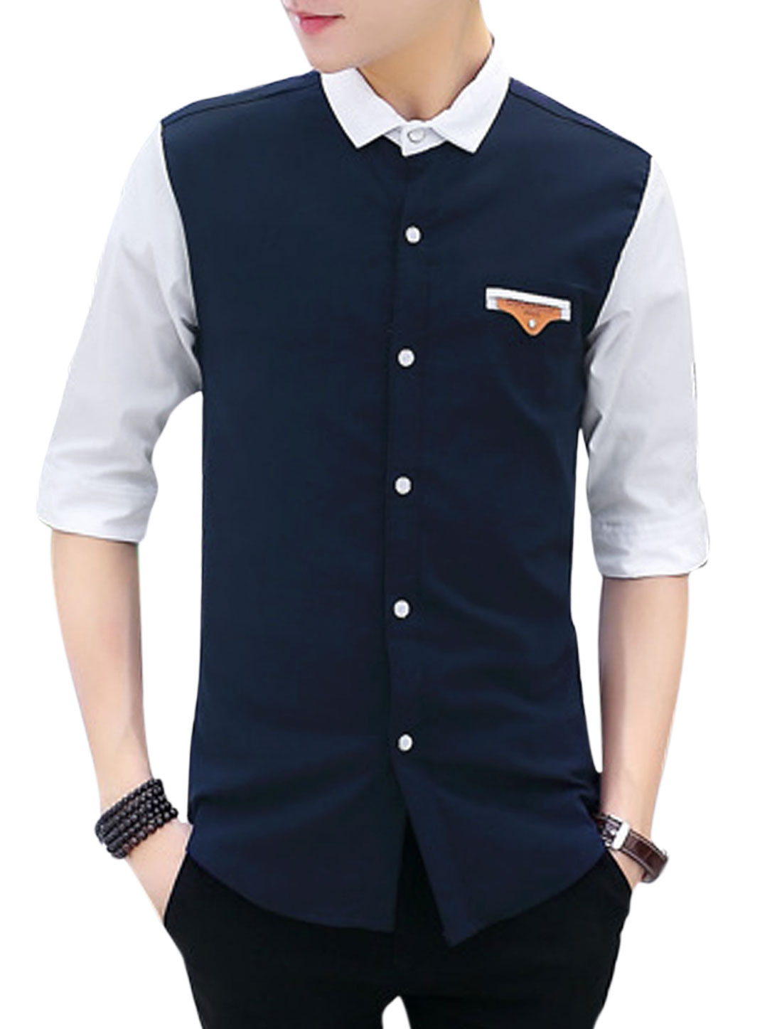 Man Contrast Color Turn Down Collar Half Length Sleeves Casual Shirt Navy Blue M