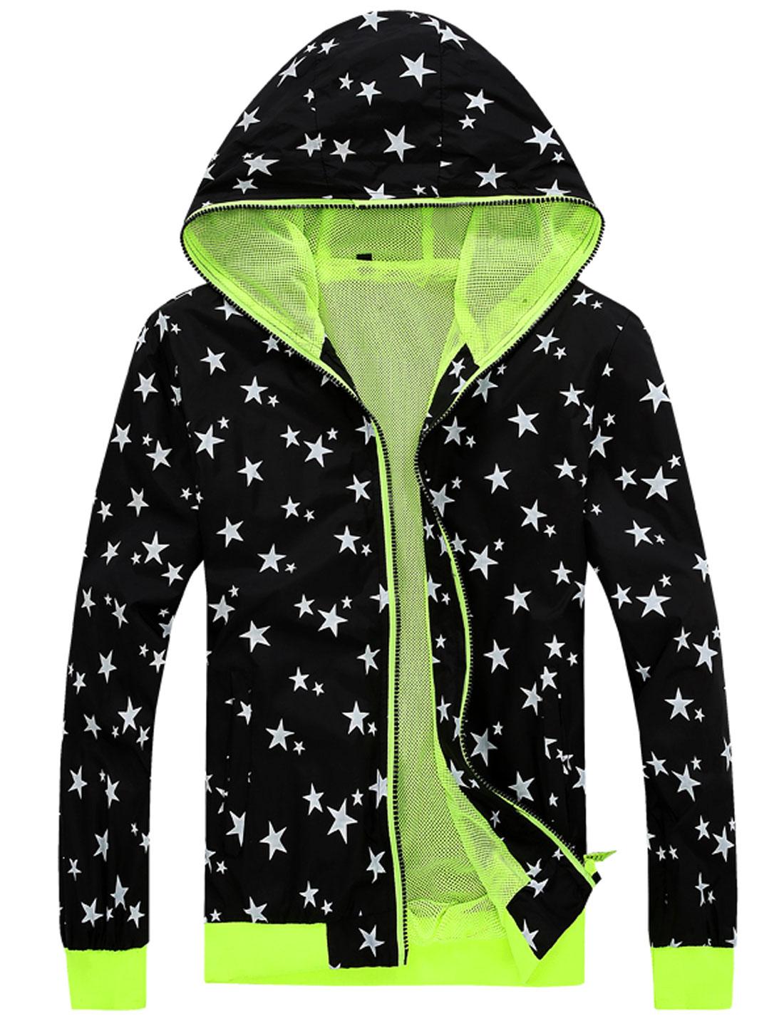 Men Zip Up Long Sleeve Front Pockets Stars Print Hoodie Jacket Black M