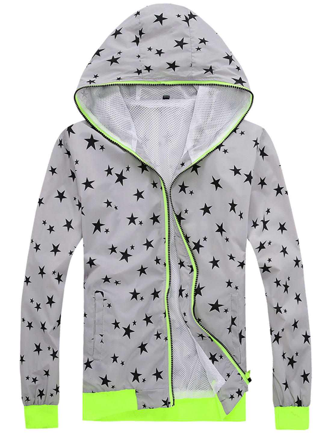Men Zip Down Long Sleeve Stars Print Casual Hoodie Jacket Gray M