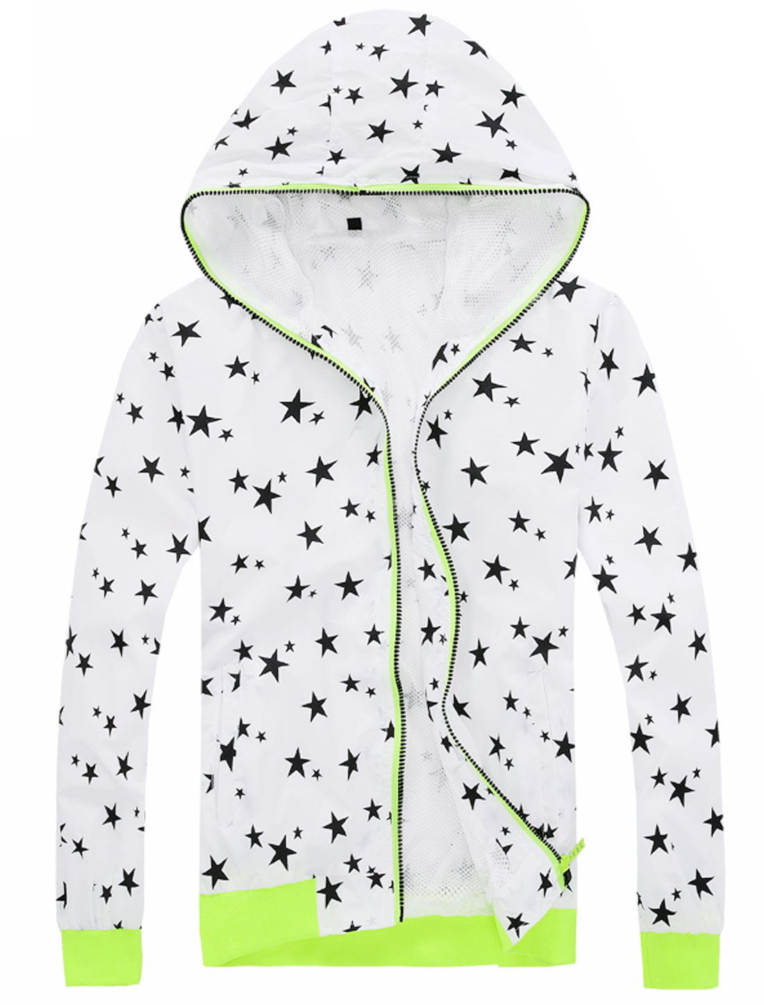 Men Zip Down Front Pockets Stars Print Hooded Casual Jackets White M