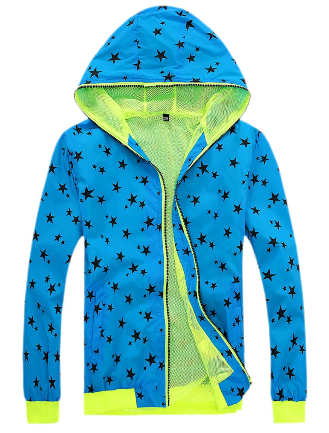 Men Zip Up Long Sleeve Pockets Stars Pattern Hooded Jackets Blue M