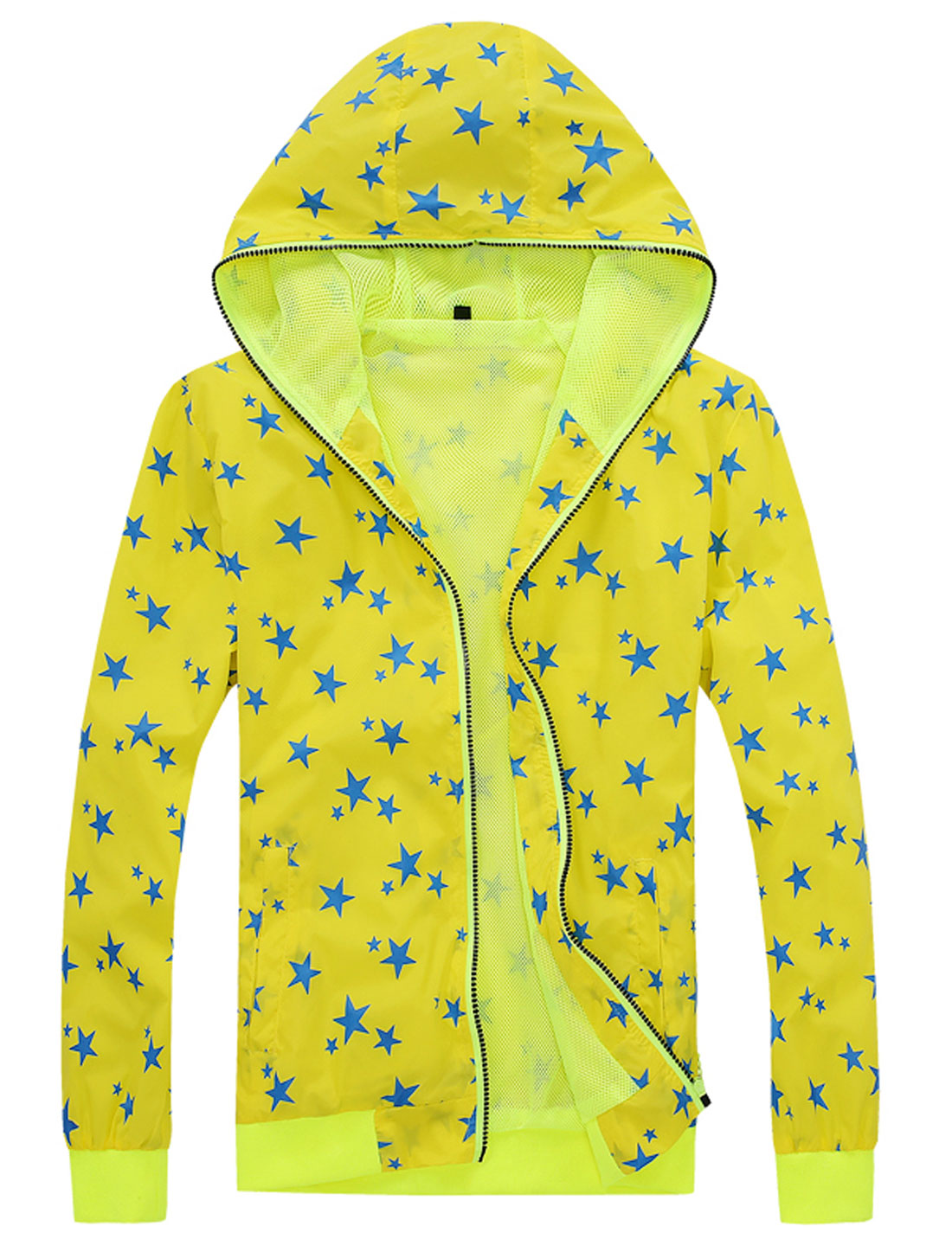 Men Zip Down Front Pockets Stars Print Casual Hoodie Jackets Yellow M
