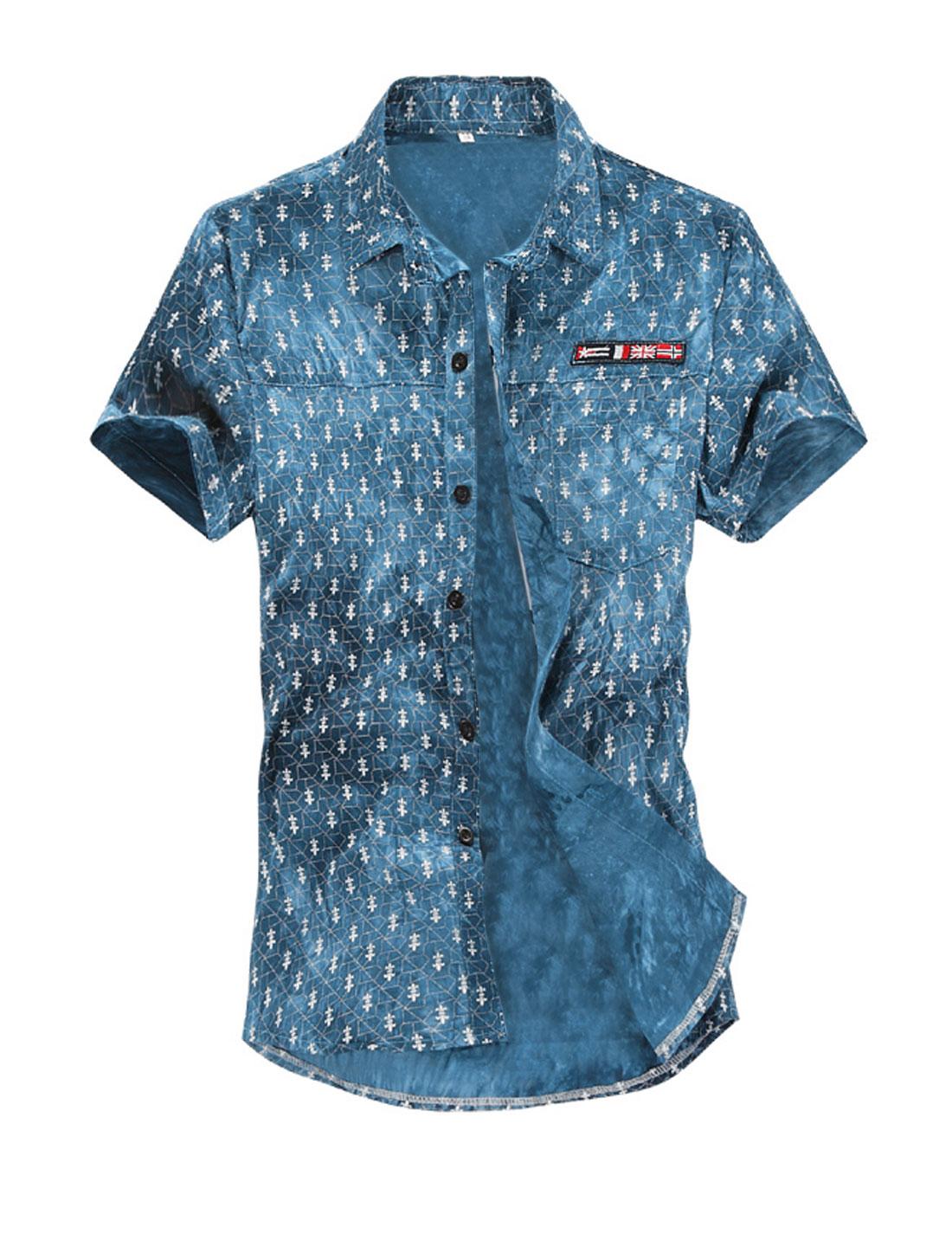 Men Button Up Novelty Print Short Sleeve Point Collar Casual Shirts Navy Blue M