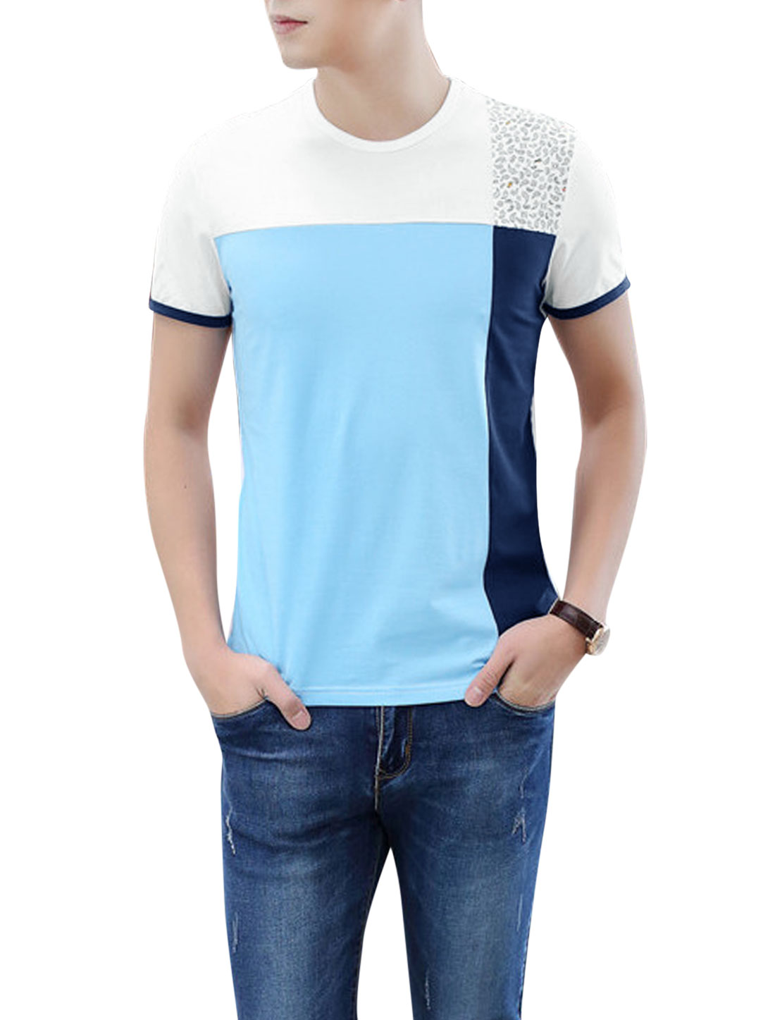 Men Color Block Short Sleeve Round Neck Casual T-Shirt Sky Blue White M