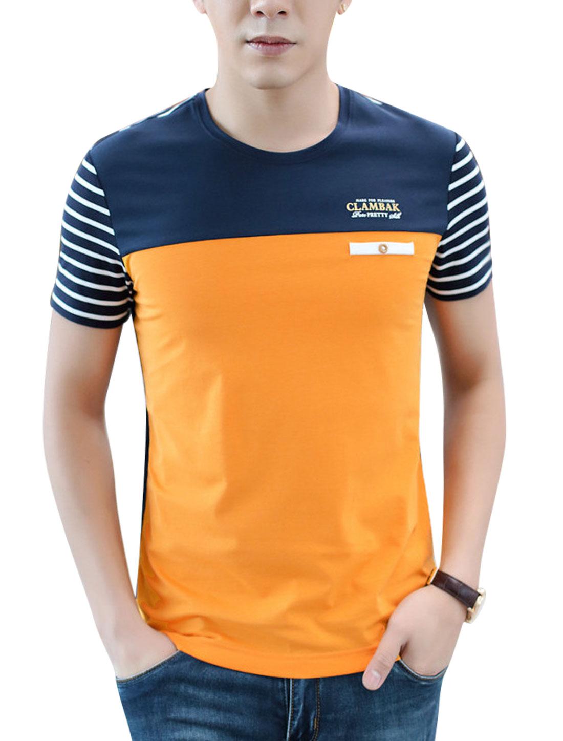 Men Short Sleeve Round Neck Contrast Color Stripes T Shirts Orange Navy Blue M