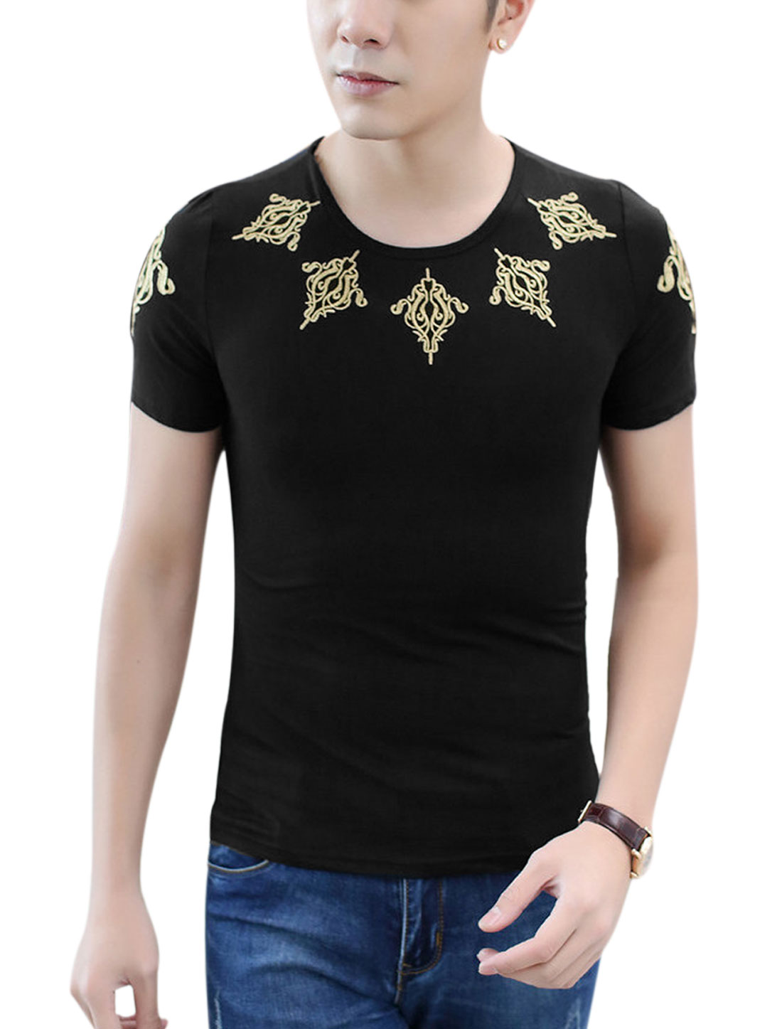 Men Short Sleeve Round Neck Embroidery Casual T Shirt Black M