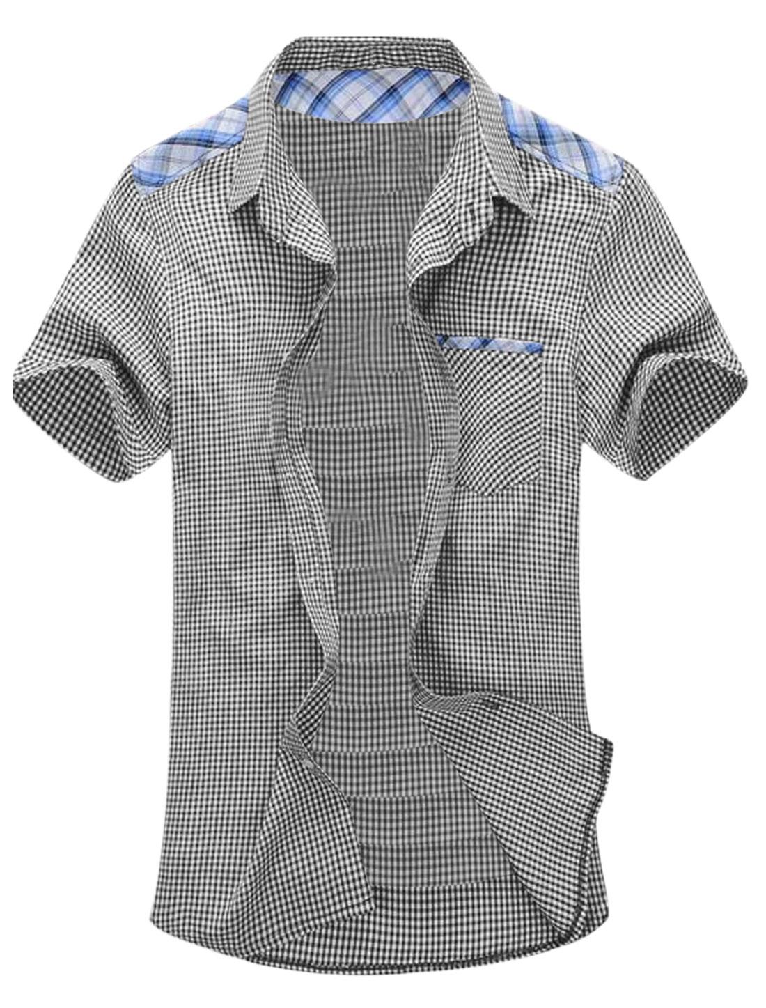 Man Plaids Point Collar Short Sleeves Single Breasted Panel Shirt Black White M