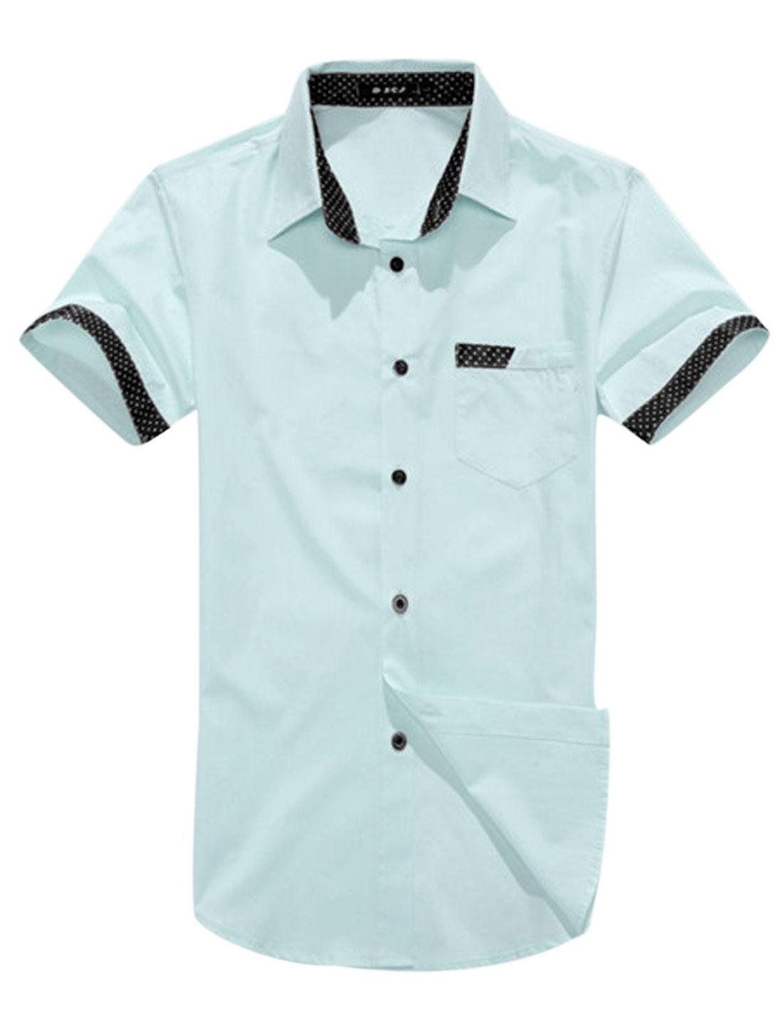 Man Dots Prints Detail Button Down One Chest Pocket Casual Shirt Sky Blue M