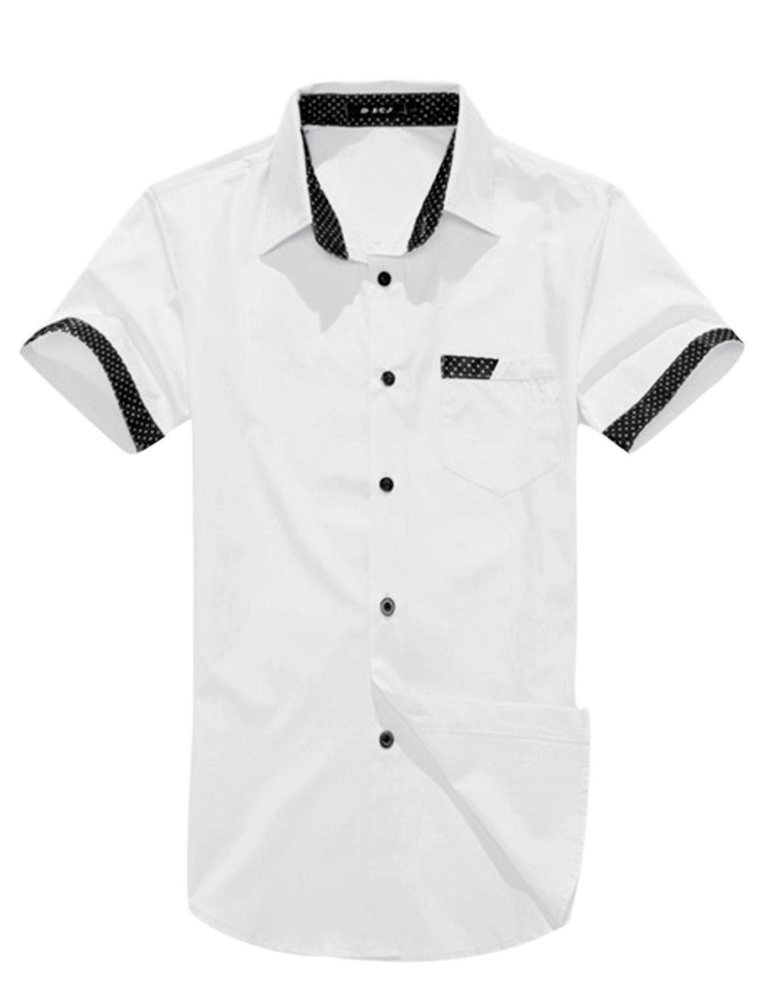 Man Dots Prints Detail Button Down Short Sleeves Casual Shirt White M
