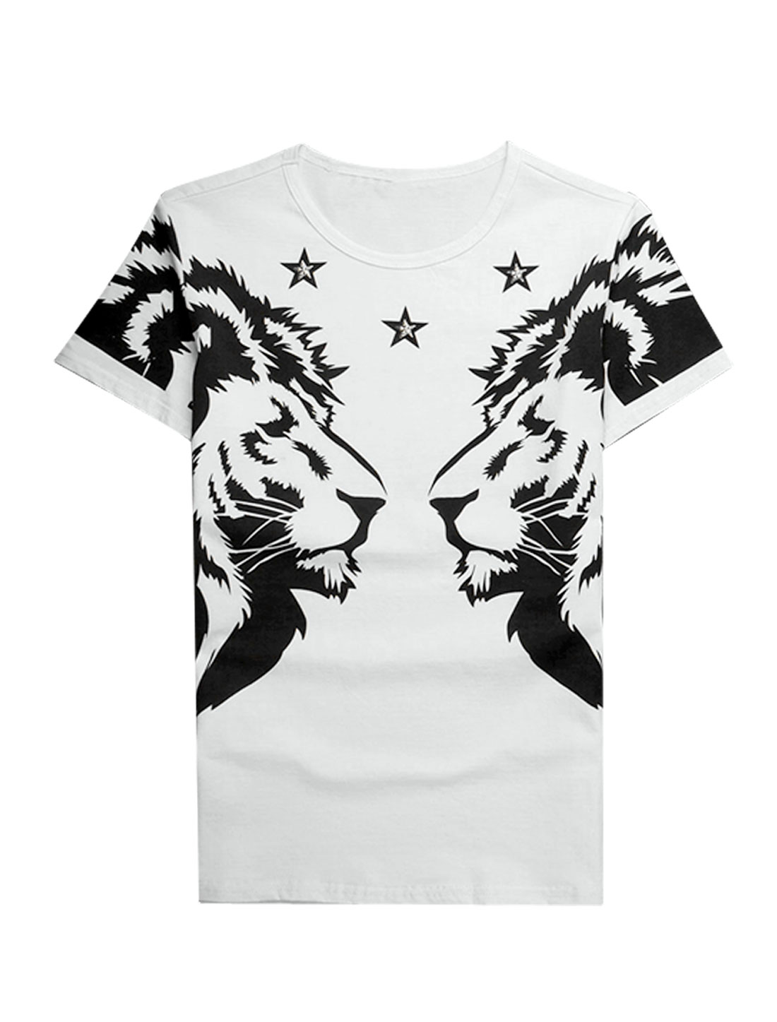 Men Round Neck Short Sleeves Lions Prints Casual T-Shirts White S