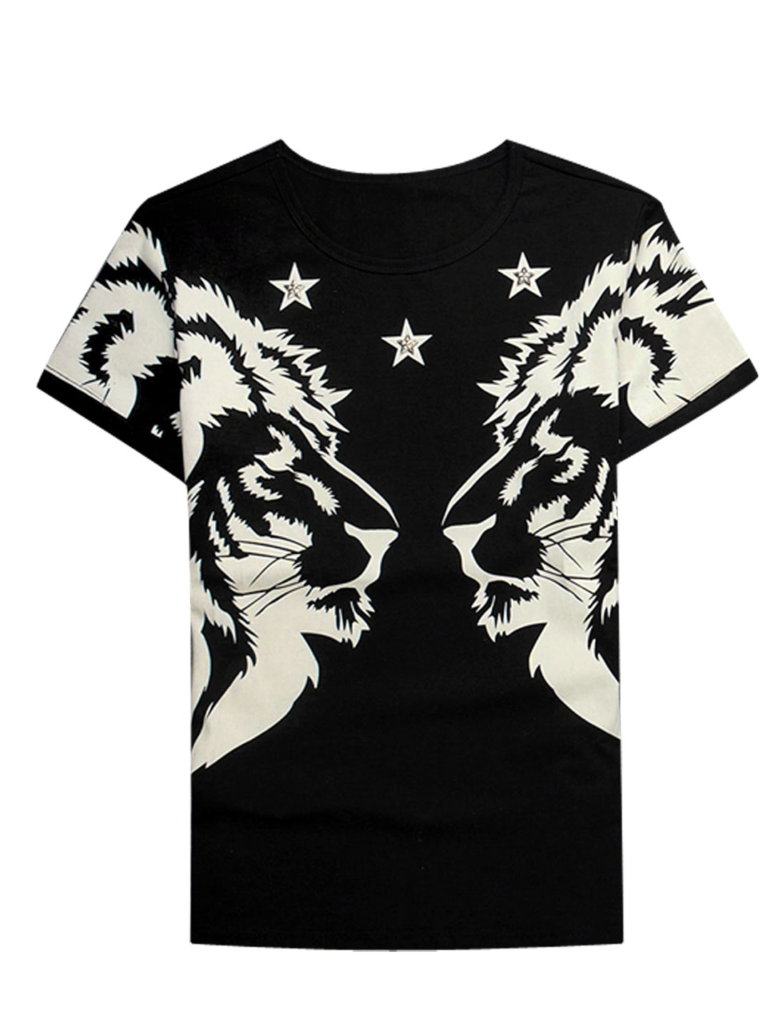 Men Short Sleeves Lions Prints Personalized Tee Black S