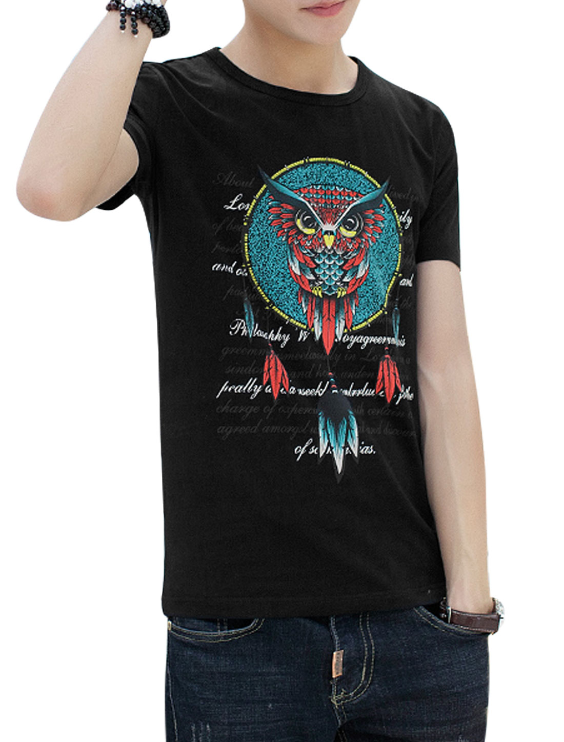 Men Owl Letters Prints Round Neck Short Sleeves Well-fitting T-shirts Black S