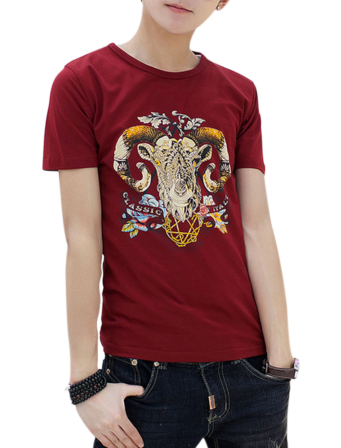Men Goat Head Pattern Round Neck Short Sleeves Casual T-shirt Burgundy S