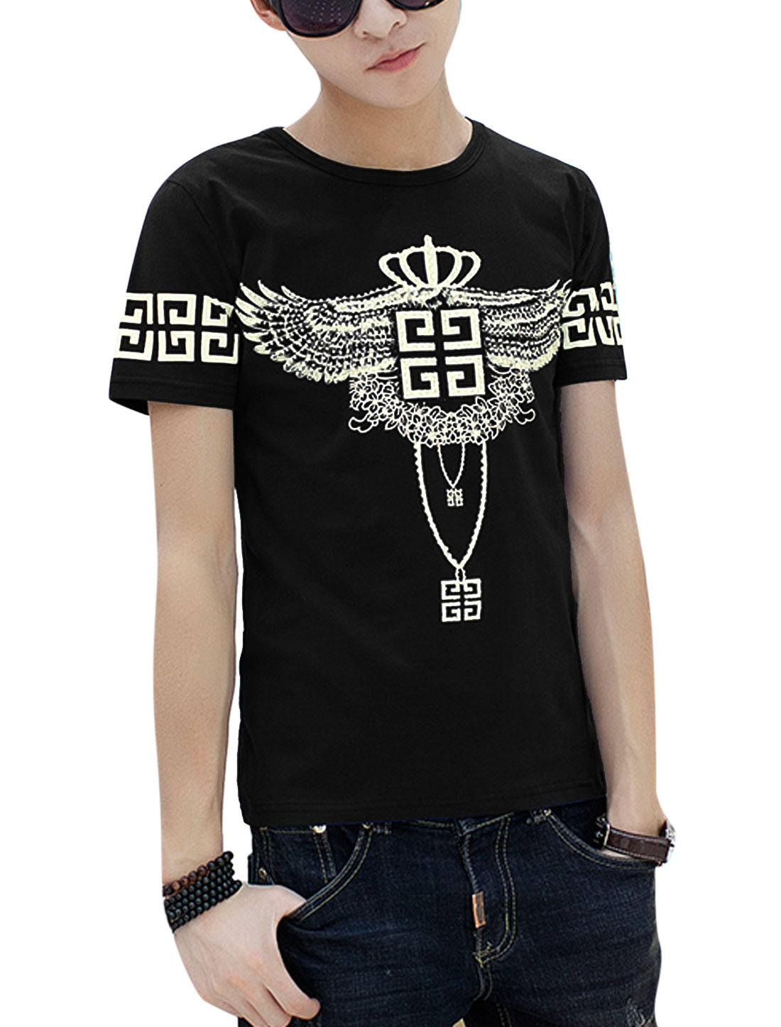 Man Diamante Eagle Crown Pattern Short Sleeves Tee Black S