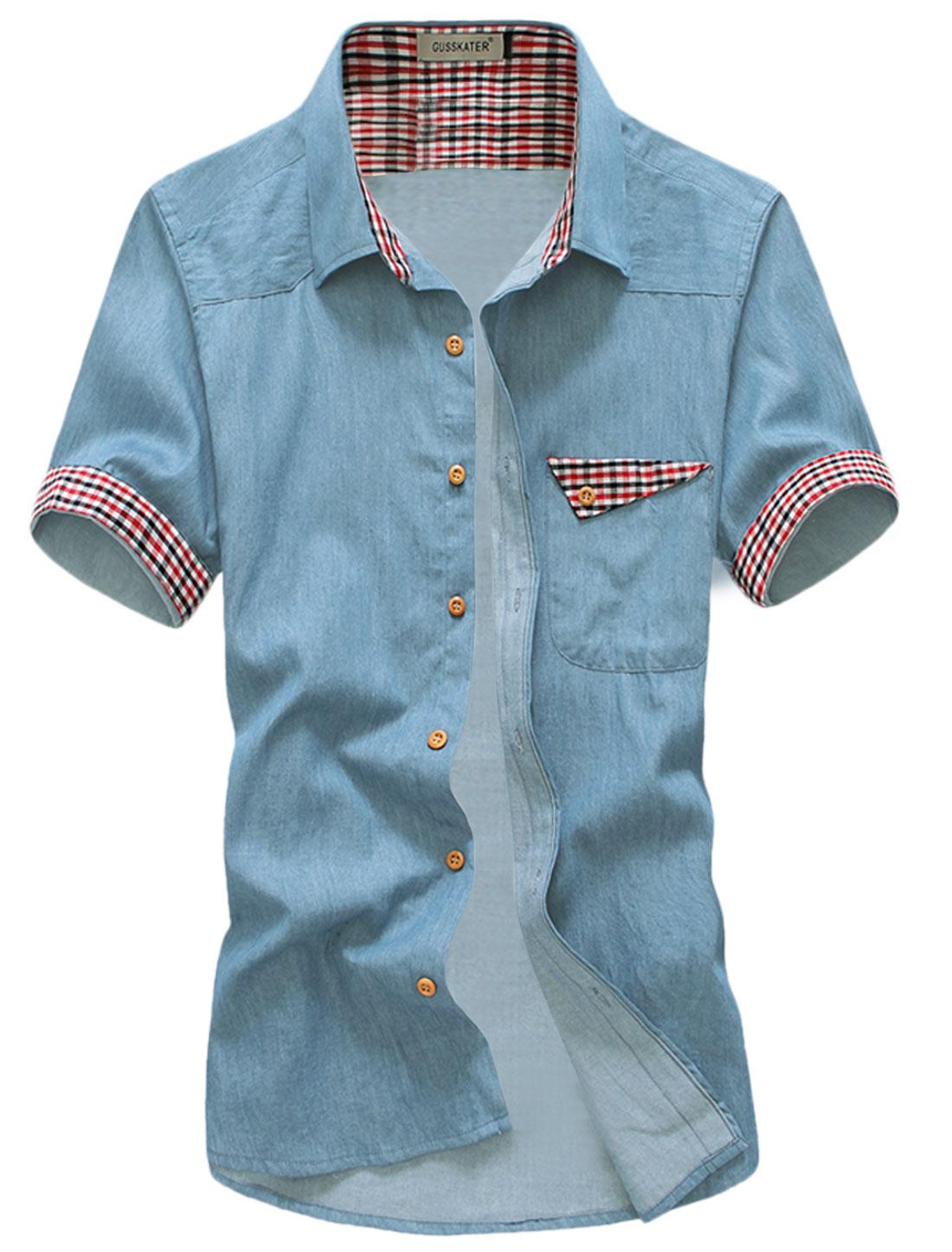 Men Button Up Short Sleeve Point Collar Pocket Casual Shirt Sky Blue M